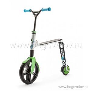 Беговел-самокат (трансформер) Scoot&Ride Highway Gangster 2 в 1 (белый/зеленый)